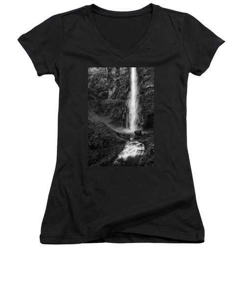 Multnomah Falls In Black And White Women's V-Neck