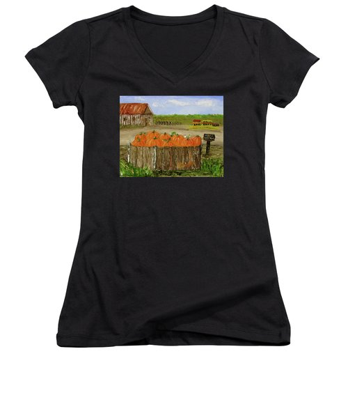 Mum And Pumpkin Harvest Women's V-Neck T-Shirt