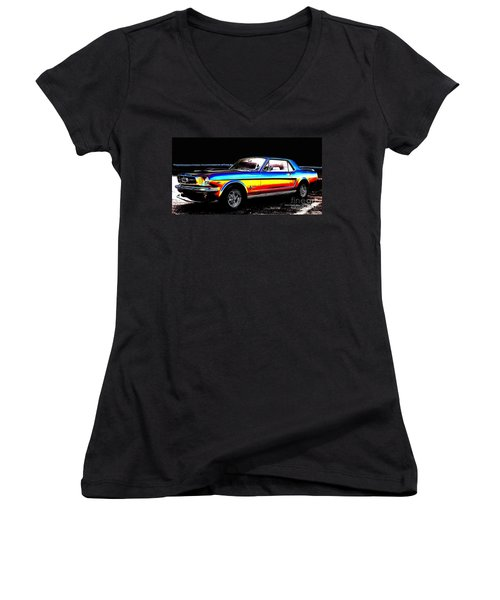 Muscle Car Mustang Women's V-Neck (Athletic Fit)