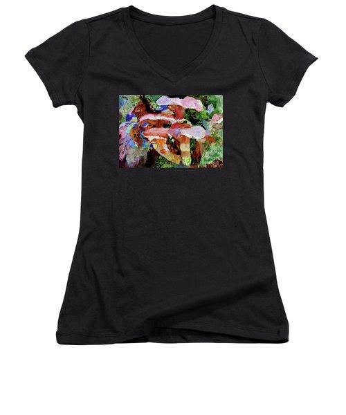 Mushroom Garden Women's V-Neck T-Shirt (Junior Cut) by Sandy McIntire