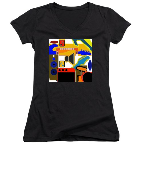 Music Collage Women's V-Neck (Athletic Fit)