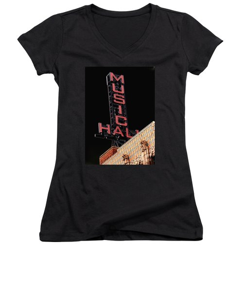 Music Hall Sign Women's V-Neck (Athletic Fit)