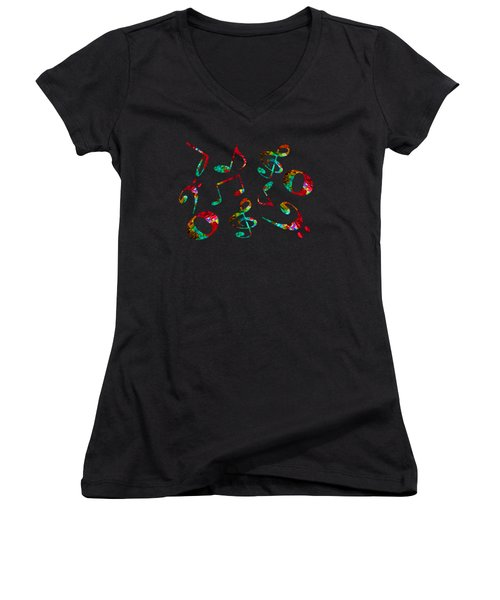 Music Notes Women's V-Neck T-Shirt