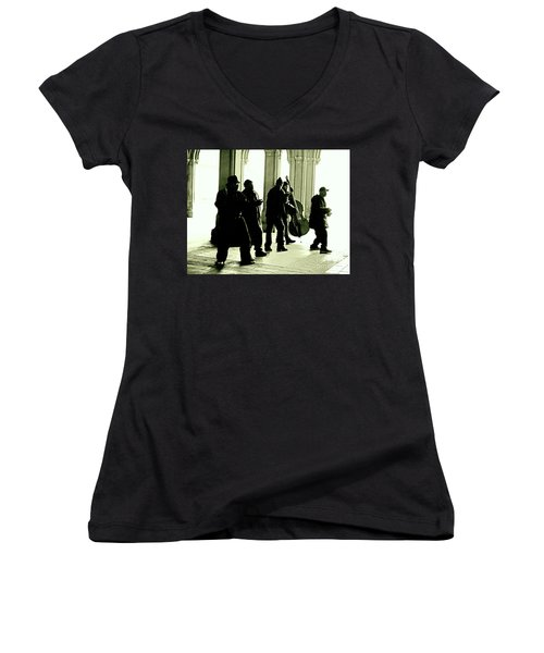 Women's V-Neck T-Shirt (Junior Cut) featuring the photograph Musicians In The Park by Sandy Moulder