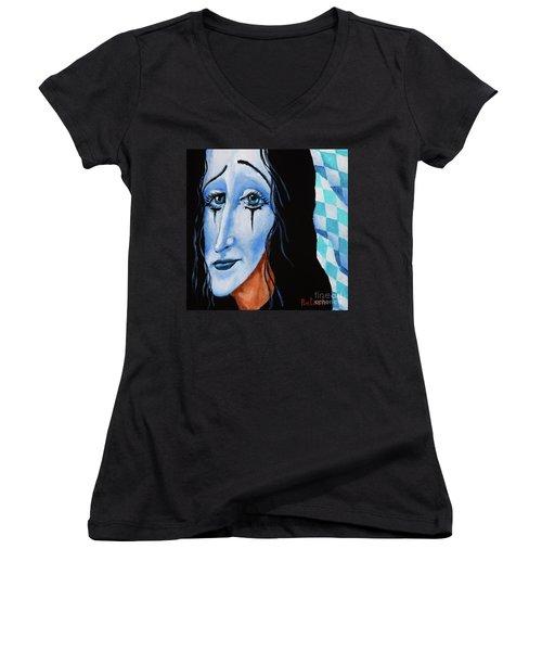My Dearest Friend Pierrot Women's V-Neck T-Shirt (Junior Cut) by Igor Postash