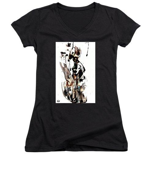 My Form Of Jazz Series 10062.102909 Women's V-Neck T-Shirt (Junior Cut) by Kris Haas