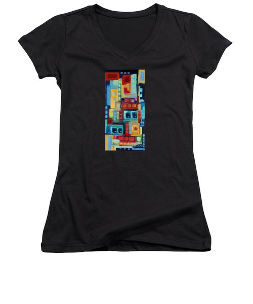 Women's V-Neck T-Shirt (Junior Cut) featuring the painting My Jazz N Blues 3 by Holly Carmichael