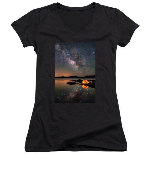 My Million Star Hotel Women's V-Neck T-Shirt (Junior Cut) by Darren White