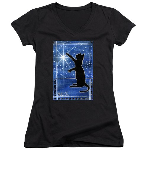 My Shinning Star - Christmas Cat Women's V-Neck (Athletic Fit)