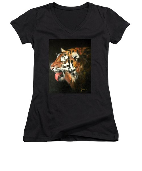 My Tiger - The Year Of The Tiger Women's V-Neck T-Shirt (Junior Cut) by Jordana Sands