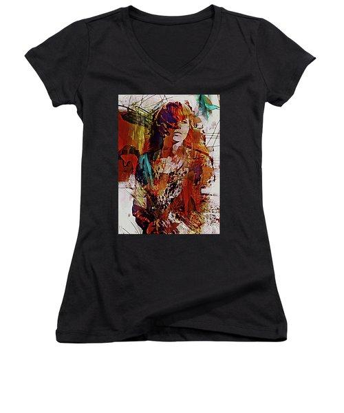 Women's V-Neck T-Shirt (Junior Cut) featuring the digital art Myrrh by Galen Valle