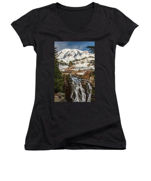 Myrtle Falls, Mt Rainier Women's V-Neck T-Shirt (Junior Cut) by Tony Locke