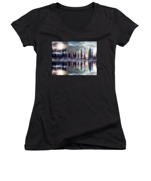 Women's V-Neck T-Shirt (Junior Cut) featuring the mixed media Mystic Lake by Gabriella Weninger - David