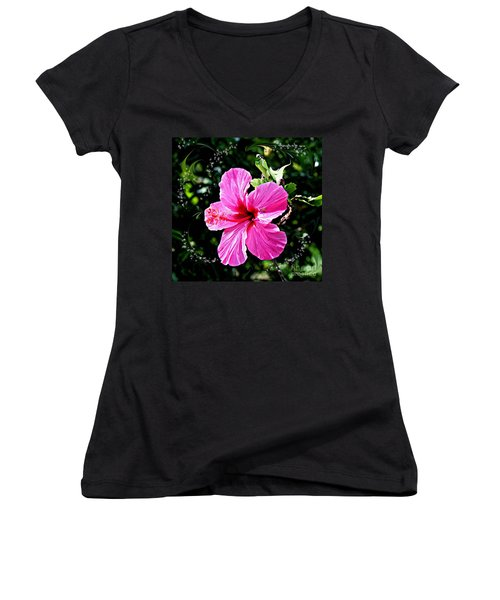 Women's V-Neck T-Shirt (Junior Cut) featuring the photograph Mystical Bloom by The Art of Alice Terrill