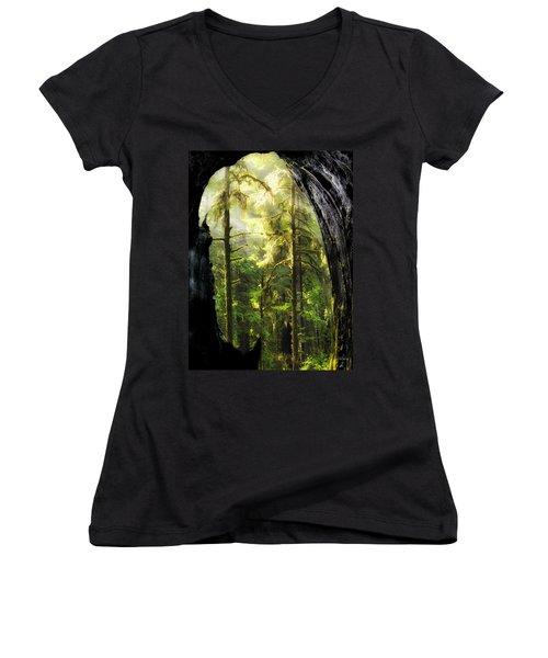 Mystical Forest Opening Women's V-Neck T-Shirt (Junior Cut) by Leland D Howard