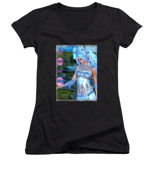 Mysticals Lake Women's V-Neck T-Shirt (Junior Cut) by Sharon and Renee Lozen