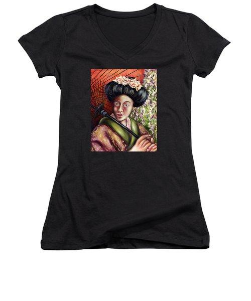 Women's V-Neck T-Shirt (Junior Cut) featuring the painting Nadeshiko by Hiroko Sakai