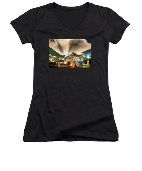 Women's V-Neck (Athletic Fit) featuring the photograph Namche Night by Dan McGeorge