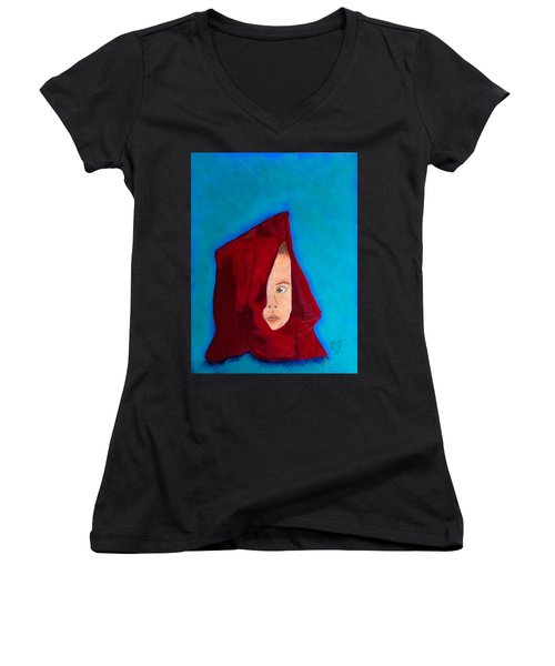 Women's V-Neck T-Shirt (Junior Cut) featuring the painting Nameless by Rod Jellison