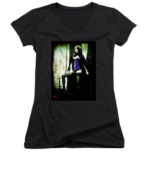 Women's V-Neck T-Shirt (Junior Cut) featuring the digital art Nancy 1 by Mark Baranowski