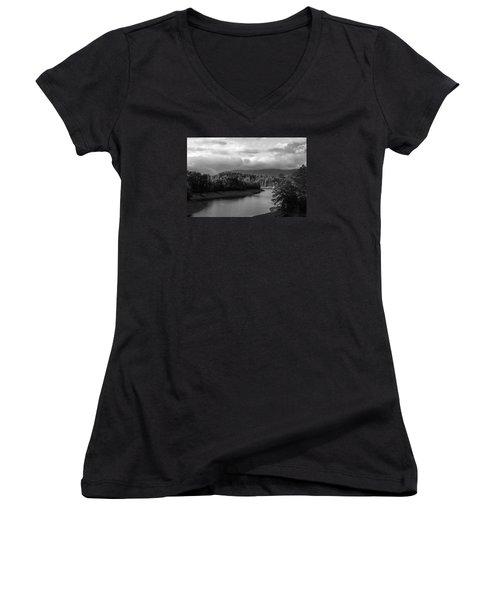Nantahala River Blue Ridge Mountains Women's V-Neck T-Shirt (Junior Cut) by Kelly Hazel