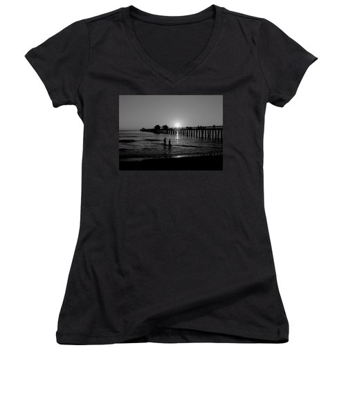 Naples Florida Pier Sunset Women's V-Neck (Athletic Fit)