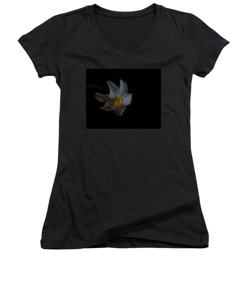 Women's V-Neck T-Shirt (Junior Cut) featuring the photograph Narcissus by Susan Capuano