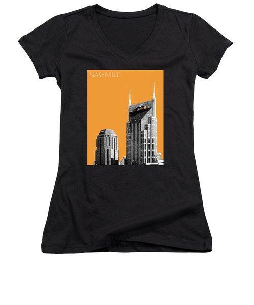 Nashville Skyline At And T Batman Building - Orange Women's V-Neck T-Shirt (Junior Cut) by DB Artist