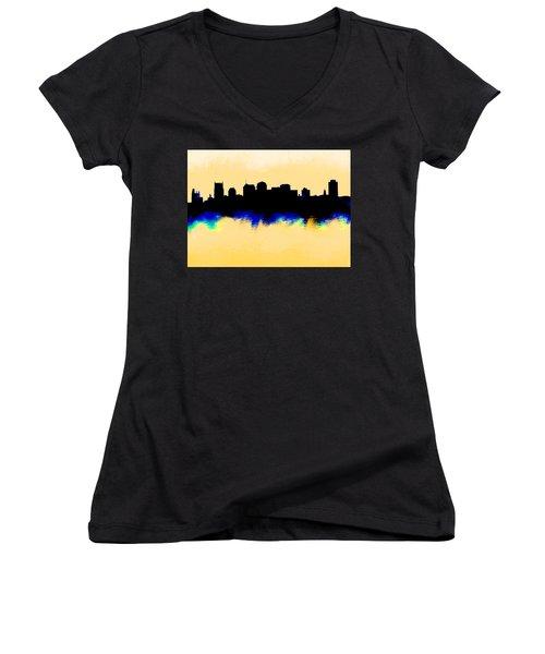 Nashville  Skyline  Women's V-Neck T-Shirt (Junior Cut) by Enki Art