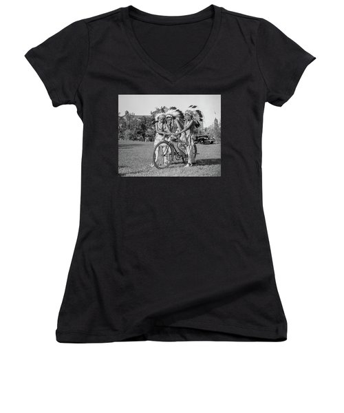Native Americans With Bicycle Women's V-Neck (Athletic Fit)