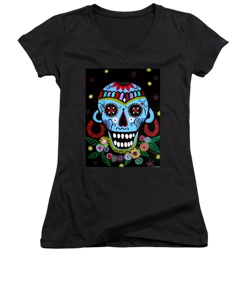 Women's V-Neck T-Shirt (Junior Cut) featuring the painting Native Dia De Los Muertos Skull by Pristine Cartera Turkus