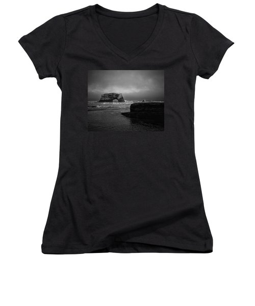 Women's V-Neck T-Shirt featuring the photograph Natural Bridge And The Gull by Lora Lee Chapman