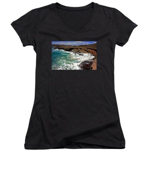 Women's V-Neck T-Shirt (Junior Cut) featuring the photograph Natural Bridge Aruba by Suzanne Stout