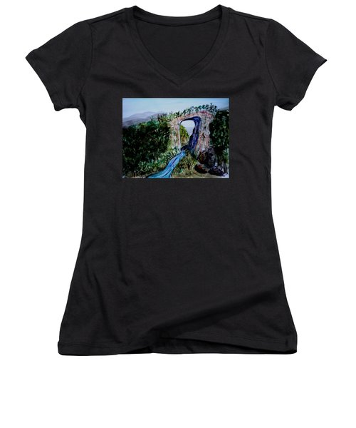 Natural Bridge In Virginia Women's V-Neck (Athletic Fit)