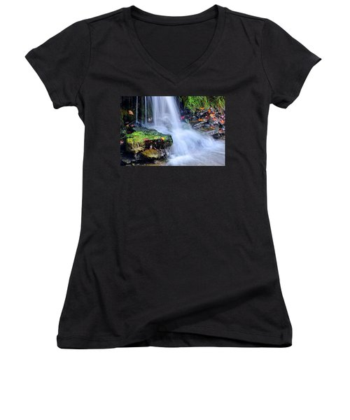 Women's V-Neck T-Shirt (Junior Cut) featuring the photograph Natural Flowing Water by Frozen in Time Fine Art Photography