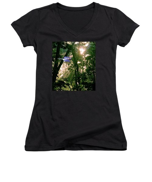 Women's V-Neck T-Shirt (Junior Cut) featuring the photograph Nature's Cathedral by Marie Hicks