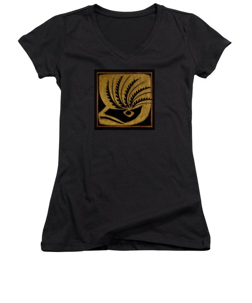 Women's V-Neck T-Shirt (Junior Cut) featuring the mixed media Nature's Grace by Gloria Rothrock