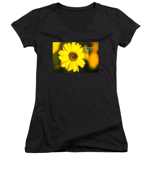 Nature's Smile  Women's V-Neck T-Shirt (Junior Cut) by Joseph S Giacalone