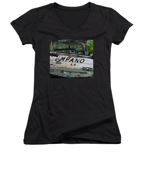 Women's V-Neck T-Shirt (Junior Cut) featuring the photograph Nautical Miles by Lori Mellen-Pagliaro