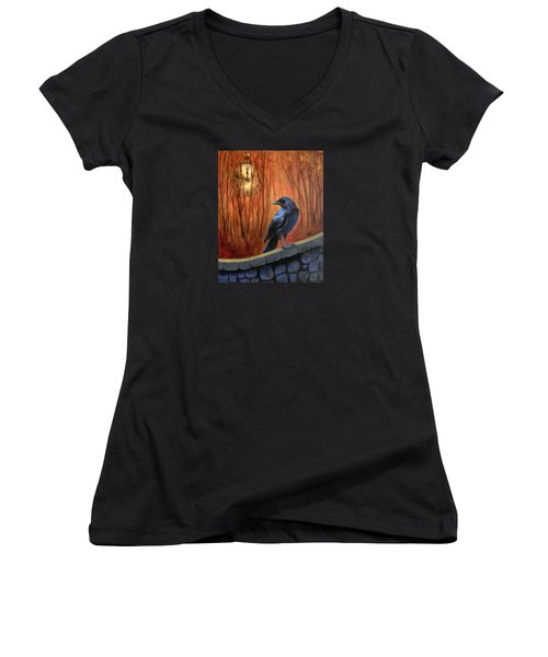 Women's V-Neck T-Shirt (Junior Cut) featuring the painting Nearing Midnight by Terry Webb Harshman
