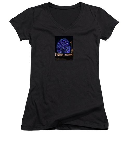 Women's V-Neck T-Shirt (Junior Cut) featuring the painting Needham's Blue Tree by Jean Pacheco Ravinski
