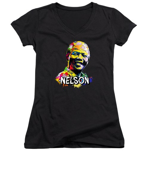 Women's V-Neck T-Shirt (Junior Cut) featuring the digital art Nelson Mandela Madiba by Anthony Mwangi