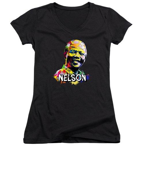 Nelson Mandela Madiba Women's V-Neck T-Shirt