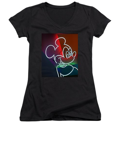 Neon Mickey Women's V-Neck (Athletic Fit)
