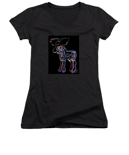 Neon Moose Women's V-Neck T-Shirt (Junior Cut) by Larry Campbell