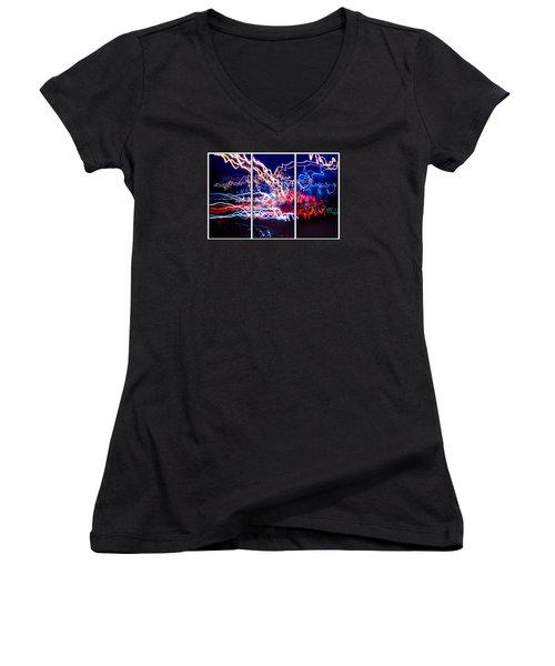Neon Ufa Triptych Number 1 Women's V-Neck T-Shirt (Junior Cut) by John Williams