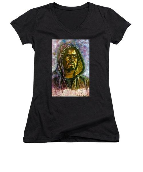 Women's V-Neck T-Shirt (Junior Cut) featuring the painting  Netflix Luke Cage by Darryl Matthews