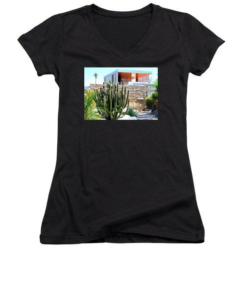 Neutra's Kaufman House 2 Women's V-Neck T-Shirt (Junior Cut) by Randall Weidner