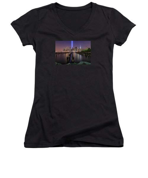 Women's V-Neck T-Shirt (Junior Cut) featuring the photograph Never 4 Get  by Anthony Fields