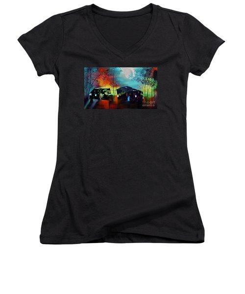 Never Alone  Women's V-Neck T-Shirt (Junior Cut) by Yul Olaivar
